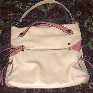 Baby pink and salmon handbag